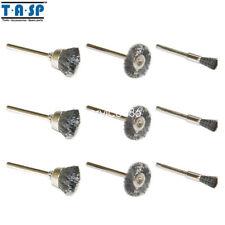 "Caña De Pulido Brushe 1/8"" 9PC 3.2mm X 44mm conjunto de ruedas de alambre de acero para Dremel"