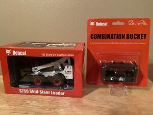 BOBCAT S750 SKID - STEEL LOADER 1:25 MODEL W/ COMBINATION BUCKET