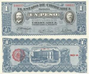 1915 CHIHUAHUA, MEXICO >Crisp UNCIRCULATED One PESO Note REVOLUTIONARY WAR Issue