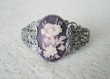 Lavender Flower Cuff Bracelet, victorian renaissance art deco art nouveau nature