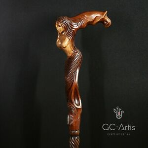Wooden Walking Stick Cane Hand carved Mermaid D Siren girl crafted for men
