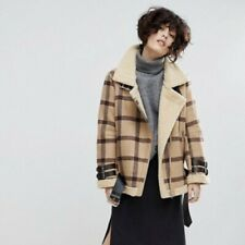J.O.A Aviator Jacket Vintage Check Faux Shearling Lining Size S Coat Oversized