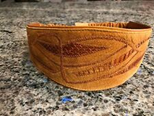 Vtg Womens Brown Wide Suede & Snakeskin 80's Belt With Elastic Back