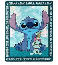 New Lilo & And Stitch Ohana Plush Fleece Throw Gift Blanket Disney Movie Scrump