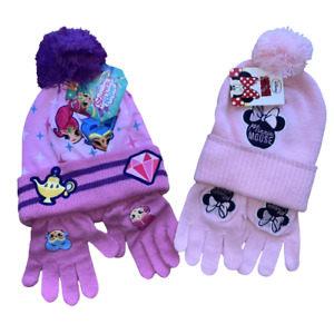 Girls Minnie Mouse Shimmer and Shine Bobble Hat and Gloves Set