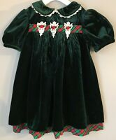 Vintage Rare Editions Toddler Green Velvet Holiday Dress Plaid Trim Lace Sz 2T