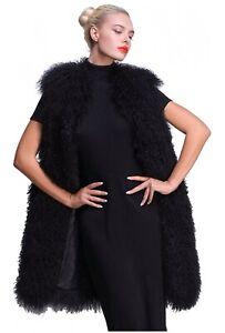 NWOT Mongolian Fur Black Vest Winter 100% Real Fur Size Large