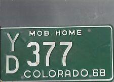 Vintage 1968 COLORADO MOBILE HOME  license plate YD 377