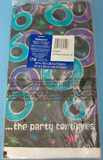 """Birthday 60 Years Party Continues Table Cover Plastic 54""""X102"""" Black Purple"""