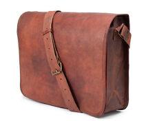 """15"""" Men's Real Genuine Vintage Brown Leather Shoulder Messenger Bag Briefcase"""