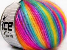 Ice PICASSO Yarn #64626 RAINBOW #1 Soft BRIGHT COLOR Self Striping 50 Grams