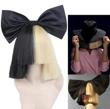 Cos Sia Short  Straight Half Blonde and Black Hair Wig With Bow Fancy Party Wigs
