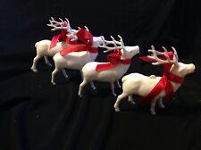 VINTAGE SET OF FOUR  CHRISTMAS REINDEER1950's HARD PLASTIC FIGURE ORNAMENT WHITE