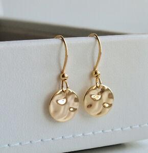 Gold Wavy Disc Drop Earrings - Round Textured Circle Dangle Minimal Minimalist