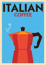 "Reproduction Vintage Italian ""Coffee"" Poster, Home Wall Art, Size: A2"