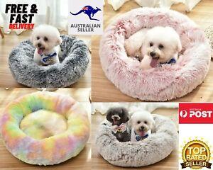 PaWz Pet Bed-Cat Dog Donut Nest Calming Mat Soft Plush Kennel Cave Deep Sleeping