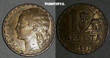2 ª REPUBLICA ESPAÑOLA. 1 peseta año 1937. Peso 4,79 gr.