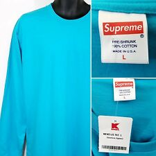 Supreme American Apparel Mens T Shirt Crew Made In USA LS Blank Blue Size Large
