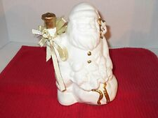 White Ceramic Santa Claus Trimmed in Gold.  Made in China
