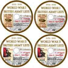World War 1 & 2  British Army Lists 1914-1918, 1939-1945 - 143 Volumes, 4 DVDs