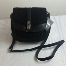 Purse Danielle Nicole $68 NWT Faux Minx Fur Saddle Bag Cross-body Black Purse