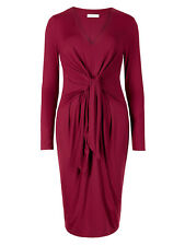 Ex M&S Knot Front Long Sleeve Bodycon Dress Dress Size 6-22