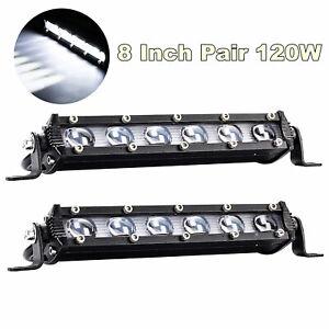 """Aluminum 2Pcs 8"""" 60W 6D Spot Beam Slim LED Work Light Bar Single Row Car Lamps"""