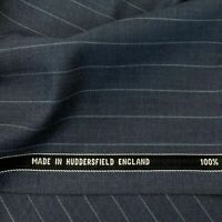 Sea Blue Chalk Stripe 3.5 Meters Suiting Fabric All Wool