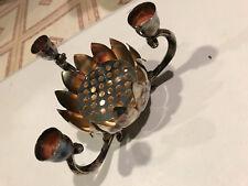 Candle & Flower Frog Holder Lotus Silver Plate Metal Hong Kong