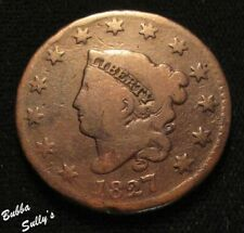 1827 Coronet Head Large Cent <> N-8 R3 Crack Stars 1 through 3 <> Fine