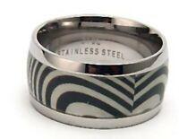 Men's Ring Hypoallergenic 316L Surgical Steel Size 9 New Zebra Design