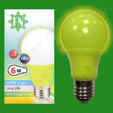 12x 6W LED Yellow Coloured GLS A60 Light Bulb Lamp ES E27, Low Energy 110 - 265V