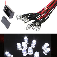 10pc 5mm LED WHITE 55cm Pre Wired Emitting Diode Light Bulb 9-12V + Battery Clip