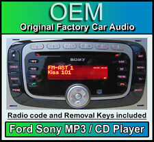 Ford Sony CD MP3 player, Ford Focus car stereo radio with code and release keys