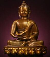 "BUDDHA: Antique Temple Sammasamadhi,  Bhutan/Nepal, Gilt Bronze, 1800s, 20"" Tall"