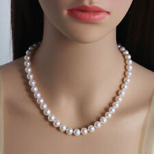 """18"""" AAA 9-10MM SOUTH SEA NATURAL White PEARL NECKLACE 14K GOLD CLASP"""