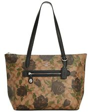 COACH 31206 Khaki Black Camo Rose Print Signature Taylor Tote Purse Bag