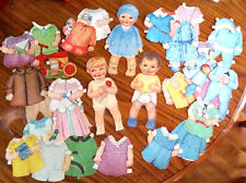 "2 Vintage BABY BOY & GIRL Paper Dolls 9"" plus 26 Outfits & Dressed Cover Cut-Put"