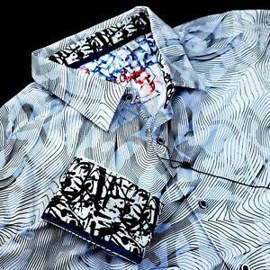 Robert Graham Geometric Illusion Skull Print Paisley Black Blue Shirt 4XL $248