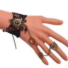 Women Wristband Bracelets Steampunk Gear Finger Ring Chain Victorian Vintage