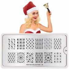 Moyou London Stamping Schablonen Plate Weihnachten Schleife Stern Festive 34