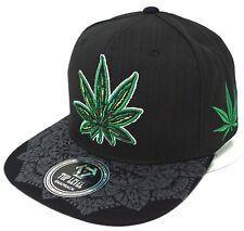 MARIJUANA Leaf Snapback Cap Hat Smoke 420 Blunt Weed Black NWT
