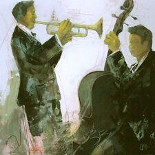 Bernard Ott : Duo tableau prêt 70x70 mural JAZZ MUSICIEN MUSIQUE TROMPETTES