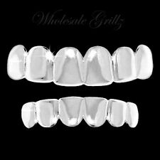 REAL SHINY! Platinum SILVER STYLE Teeth GRILLZ SET HipHop Mouth GRILLS FOR TEETH
