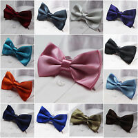 MENS PRE-TIED PLAIN SOLID BOW TIE MEN'S BOWTIE WEDDING PARTY TUXEDO QUALITY TIES