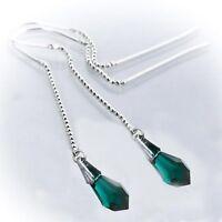 Durchzieher Ohrringe 925 Silber mit SWAROVSKI ELEMENTS Tropfen Crystal Emerald