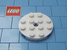 LEGO 60474 4x4 BIANCO ROTONDA PIASTRA con fori x 2 NUOVO