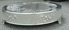 """Silver Plate Embossed Cake Stand Plateau 12"""" Round"""