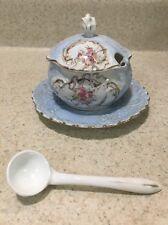 Antique Porcelain Floral Rose Scroll Gold Blue Sugar Condiment Bowl Plate Spoon