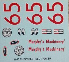 Repro 1/24 Monogram 1955 Chevrolet Slot Racer (#65) Decal Set